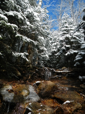 The steep, wet, icy, and beautiful trail.