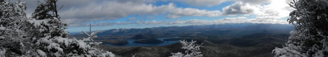 the view of the great range and lake Placid.